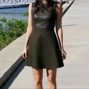 ZARA faux leather shirt & wool dress / Sz S